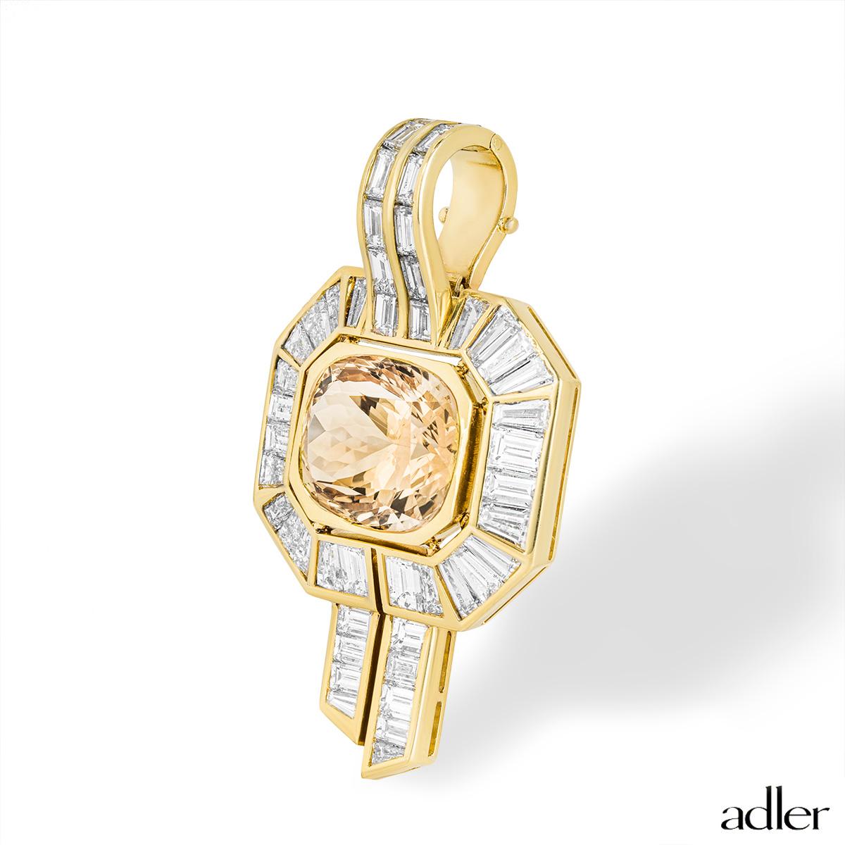 Adler Citrine and Diamond Pendant